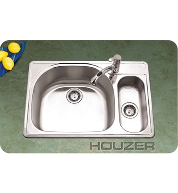 Houzer RMG-3322SR-1 Self Rimming 80 / 20 Large Left Basin Kitchen Sink
