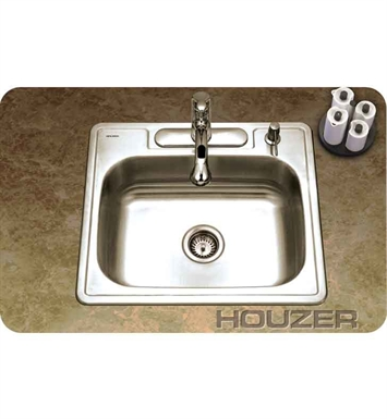 Houzer A2522-65BS3-1 Self Rimming 3 Hole Single Basin Kitchen Sink