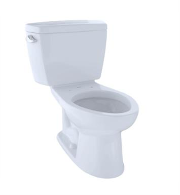 TOTO CST744E#01 Eco Drake Two-Piece Elongated Toilet with 1.28 GPF Single Flush With Finish: Cotton And CeFiONtect: Without CeFiONtect