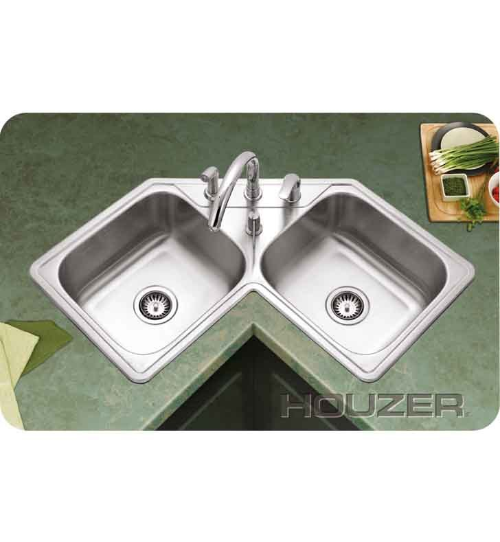 Kitchen Sink Corner : Houzer LCR-3221-1 Self Rimming Double Basin Corner Kitchen Sink