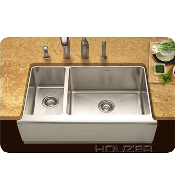 Houzer EPO-3370SL Farm House Undermount 70 / 30 Large Right Basin Kitchen Sink