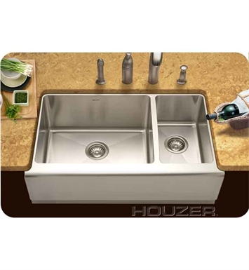 Houzer EPO-3370SR Farm House Undermount 70 / 30 Large Left Basin Kitchen Sink
