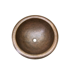 Houzer HW-AUG1RS Self Rimming Round Hand Hammered Copper Bathroom Sink in Antique Copper Finish