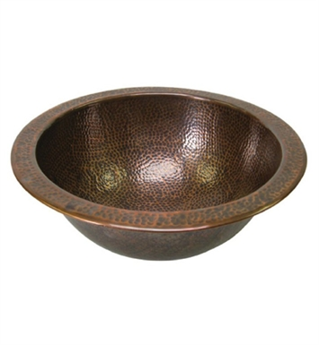 Houzer HW-CLA1RF Undermount Round Hand Hammered Copper Bathroom Sink in Antique Copper Finish