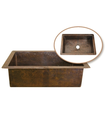 Houzer HW-CHA11 Undermount Single Basin Hand Hammered Copper Kitchen Sink