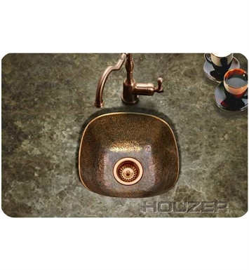Houzer HW-LAG1BF Undermount Hand Hammered Copper Bar Sink in Antique Copper Finish