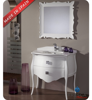 "Fresca Platinum FPVN7514WH Paris 35"" Glossy White Bathroom Vanity with Swarovski Handles"