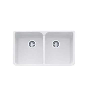 Franke MHK720-35MW Manor House Double Basin Farmhouse Fireclay Kitchen Sink in Matte White