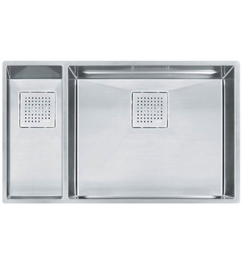 "Franke PKX160LH Peak 30 7/8"" Double Basin Undermount Stainless Steel Kitchen Sink with Left Hand Small Basin"