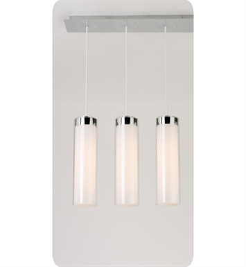 Ayre CIRPL3D-P-SO-CL-PN-FL Circ 3 Light Linear Multi Pendant with Droplet Canopy With Finish: Polished Nickel And Lamping Type: Fluorescent