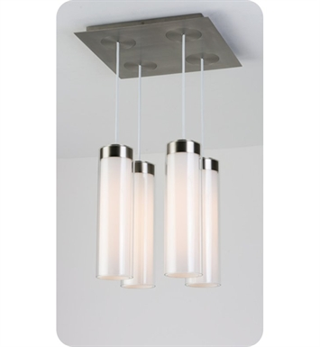 Ayre CIRPS4D-P-SO-CL-BN-LED Circ 4 Light Square Multi Pendant with Droplet Canopy With Finish: Brushed Nickel And Lamping Type: LED