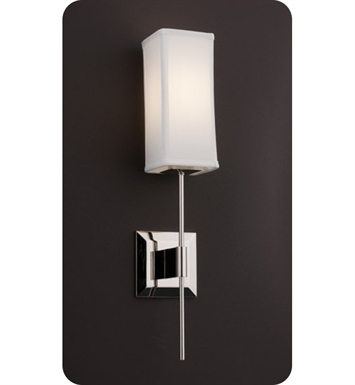 Ayre DIS2-S-WS-PN-FL District Wall Sconce Light with White Shantung Diffuser With Finish: Polished Nickel And Lamping Type: Fluorescent