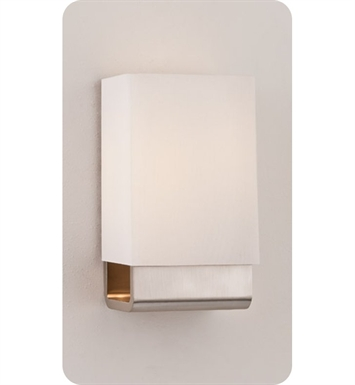 Ayre KYO1-A-WS-BN-INC Kyoto ADA Wall Sconce Light with White Shantung Diffuser With Finish: Brushed Nickel And Lamping Type: Incandescent