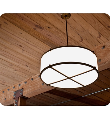 "Ayre LBP16-P-SA-OB-C-FL Litebox 16"" Customizable Pendant with Shiny Opal Acrylic Diffuser With Finish: Oil Rubbed Bronze And Lamping Type: Fluorescent And Crossbars: With Crossbars"