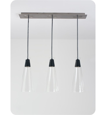 Ayre NAKPL3D-P-CL-CH-BR-BC-LED Naked Linear Three Light Pendant with Droplet Canopy With Lamping Type: LED And Configuration: Polished Chrome Fixture | Clear Glass / Black Rubber Diffuser | Black Chord