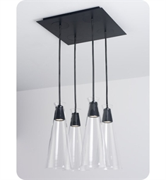 Ayre Naked Square Four Light Pendant with Droplet Canopy