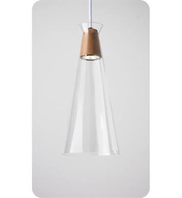 Ayre NAK1-P-CL-BN-CK-WC-LED Naked Single Light Pendant with Clear Glass Diffuser With Lamping Type: LED And Configuration: Brushed Nickel Fixture | Clear Glass / Cork Diffuser | White Chord