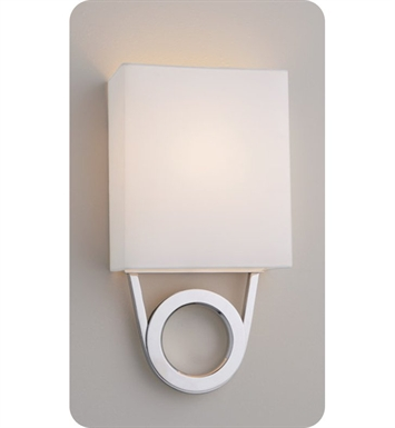 Ayre RIO1-A-WS-PA-LED Boutique Rio ADA Wall Sconce Light with White Shantung Diffuser With Finish: Polished Aluminum And Lamping Type: LED