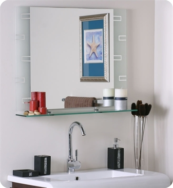 Decor Wonderland SSM152 Frameless Rectangle Wall Mirror with Shelf