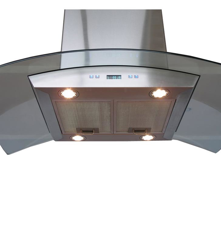 Cavaliere Euro SV218D I36 36 Stainless Steel And Glass Island Mount Ran