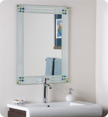 Decor Wonderland SSM19 Bejeweled Frameless Bathroom Mirror