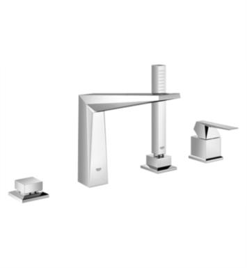"Grohe 19787000 Allure Brilliant 10"" Four Hole Widespread/Deck Mounted Tub Filler with Handshower in Chrome"