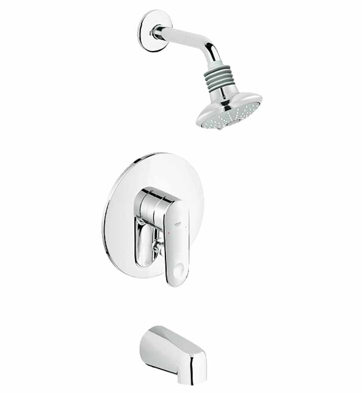 grohe 35018002 europlus pressure balance valve bath combination in chrome. Black Bedroom Furniture Sets. Home Design Ideas