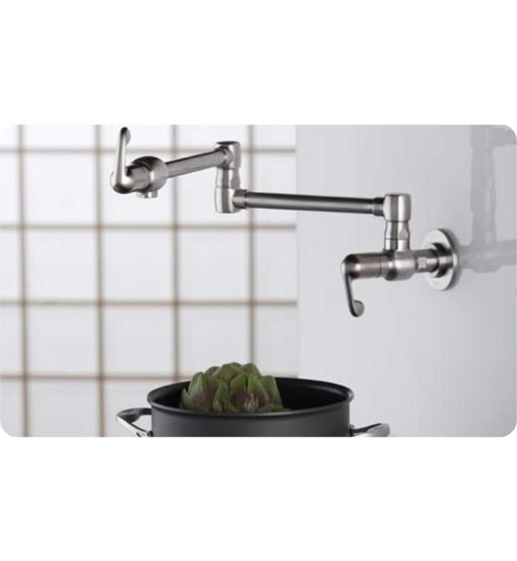 Grohe 31041sd0 3 5 8 Two Handle Wall Mount Pot Filler Kitchen Faucet In Stainless Steel Brushed