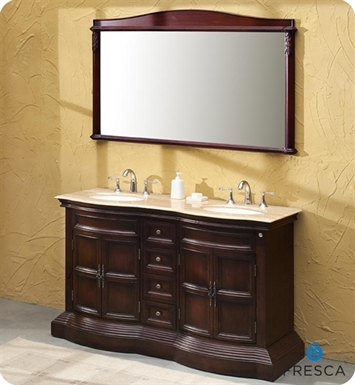 Fresca FVN6349TR Vologne Double Sink Antique Bathroom Vanity with Travertine Countertop