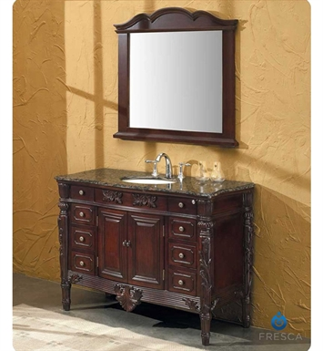 Fresca FVN6351BB Brampton Antique Single Sink Bathroom Vanity w/ Baltic Brown Countertop