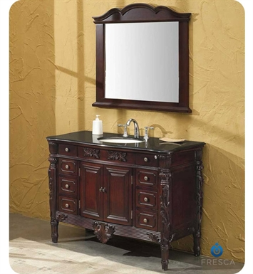 Fresca FVN6351BG Brampton Antique Single Sink Bathroom Vanity w/ Black Galaxy Countertop