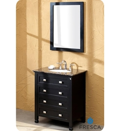 Fresca Wilson Classic Single Sink Bathroom Vanity w/ Baltic Brown Countertop
