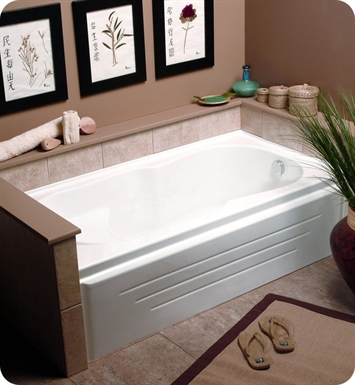 "Neptune LA60SG Laura 60"" Customizable Rectangular Bathroom Tub with Integral Skirt With Jet Mode: No Jets (Bathtub Only) And Drain Position: Left Side - Integrated Tiling Flange"