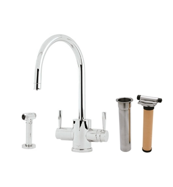"Rohl U-KIT1293-2-PN Perrin & Rowe® Contemporary Mimas 2-Lever Kitchen Faucet With ""C"" Spout, Sidespray and Filter With Finish: Polished Nickel"