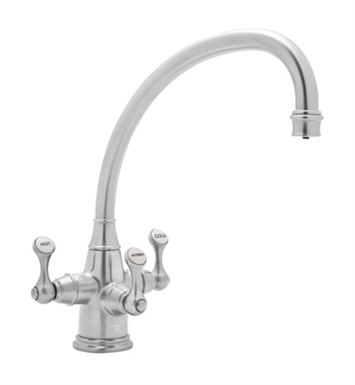 "Rohl U-KIT1420-2 Perrin & Rowe® 3-lever Kitchen Faucet with ""Broken Neck"" Spout and Filter"
