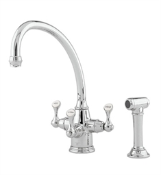 "Rohl U-1520-2 Perrin & Rowe® Traditional Etruscan 3-lever Kitchen Faucet with ""Broken Neck"" Spout & Sidespray"