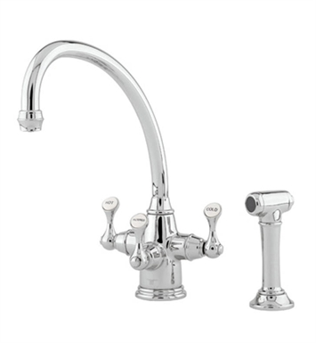 "Rohl U-KIT1520-2-IB Perrin & Rowe® Traditional Etruscan 3-lever Kitchen Faucet with ""Broken Neck"" Spout, Sidespray and Filter With Finish: Inca Brass <strong>(SPECIAL ORDER, NON-RETURNABLE)</strong>"