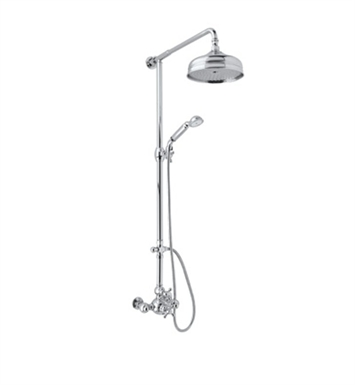 Rohl AC407OP-STN Exposed Wall Mounted Dual Control Thermostatic Shower Mixer With Finish: Satin Nickel And Handles: Arcana Ornate Porcelain Lever Handles