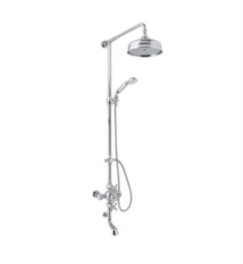 "Rohl AC414L-STN Arcana 52 1/8"" Thermostatic Shower and Bathtub Mixer with Single Function Showerhead With Finish: Satin Nickel And Handles: Ornate Metal Levers"