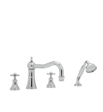 Rohl U-3748-PN Perrin& Rowe® Georgian Era 4-Hole Deck Mount Column Spout Tub Filler With Handshower With Finish: Polished Nickel