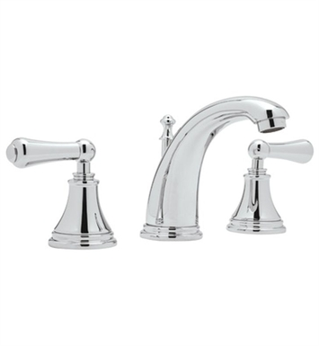 Rohl U-3712-2LS-PN Perrin & Rowe® Georgian Era 3-Hole High Neck C-Spout Widespread Faucet With Finish: Polished Nickel And Handles: Georgian Era Style Solid Metal Lever Handles