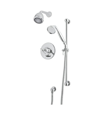 Rohl U.KIT68LSX-STN Perrin & Rowe Georgian Era Shower Package With Finish: Satin Nickel And Handles: Georgian Era Style Metal Cross Handles