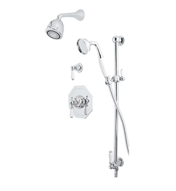 Rohl U.KIT45L-PN Perrin & Rowe Edwardian Shower Package With Finish: Polished Nickel And Handles: Edwardian Style Porcelain Lever Handles