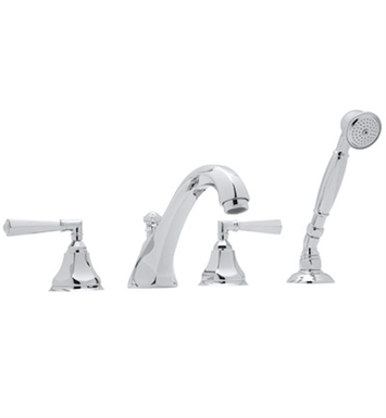 Rohl A1904XM-STN Palladian Roman Tub Faucet with Single Function Hand Shower With Finish: Satin Nickel And Handles: Palladian Metal Cross Handles