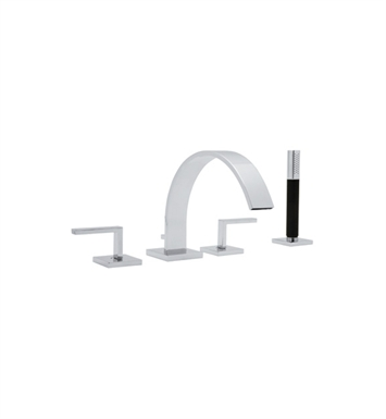 Rohl WA26L-STN Wave Deck Mount Tub Filler Faucet with Handshower With Finish: Satin Nickel