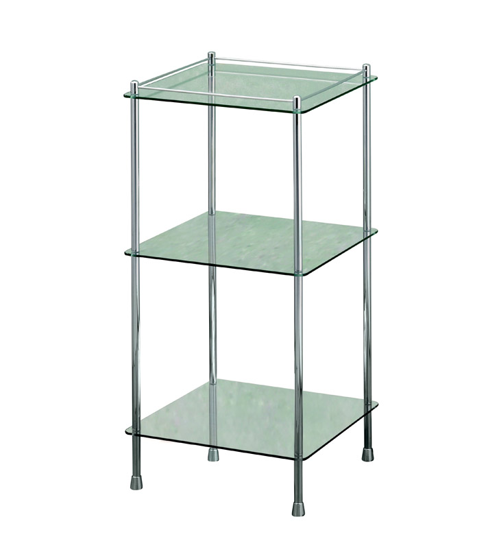 Three Tier Bathroom Stand: Valsan 57400ES Essentials Bathroom 3-Tier Glass Shelf Unit