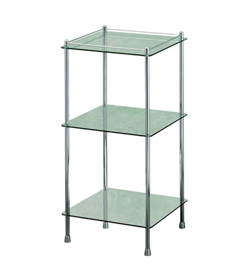 Valsan 57400ES Essentials Bathroom 3-Tier Glass Shelf Unit in Chrome Finish With Finish: Satin Nickel