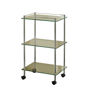 Valsan 57405NI Essentials Bathroom 3-Tier Glass Cart Unit with Wheels With Finish: Polished Nickel