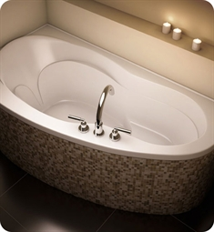 "Neptune MI3566 Milos 66"" Customizable Corner Podium Bathroom Tub"