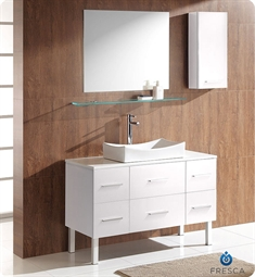 Fresca Distante White Modern Bathroom Vanity with Mirror and Side Cabinet